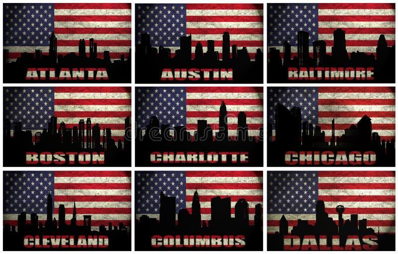 Collage av berömda USA städer från A till D vektor illustrationer