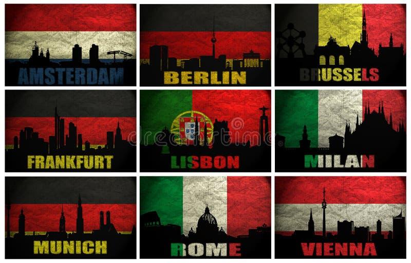 Collage av berömda Västeuropastäder royaltyfri illustrationer
