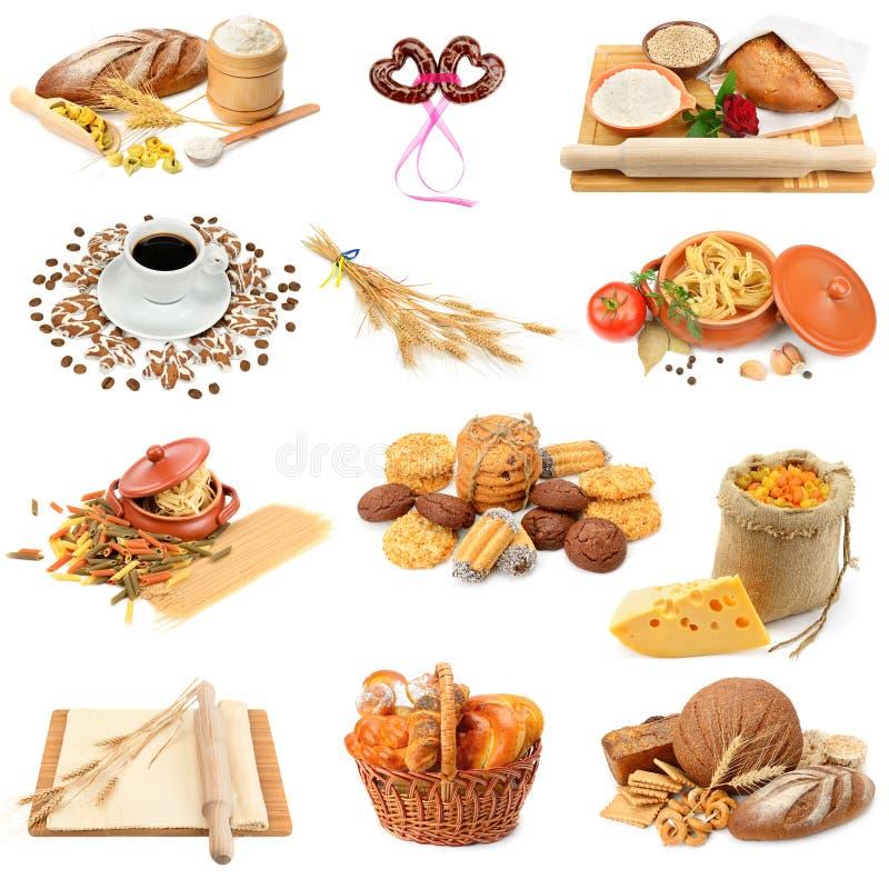 Collage av bröd, pasta, kakor och kex arkivbild