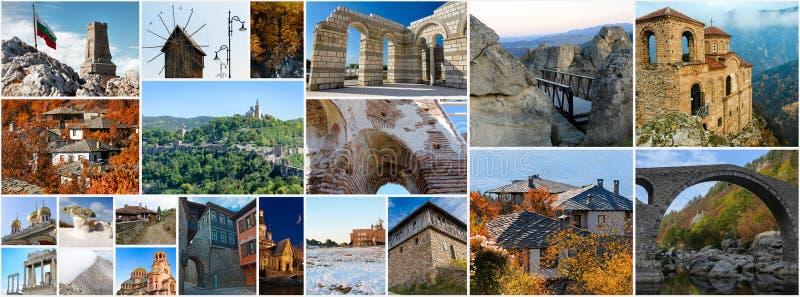 Collage av bulgariska gränsmärken och loppbilder royaltyfri fotografi