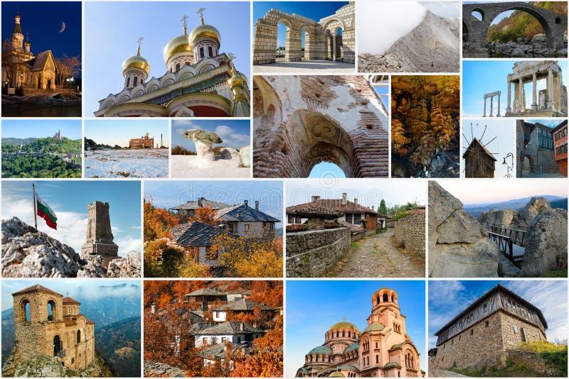 Collage av bulgariska gränsmärken och loppbilder royaltyfria bilder