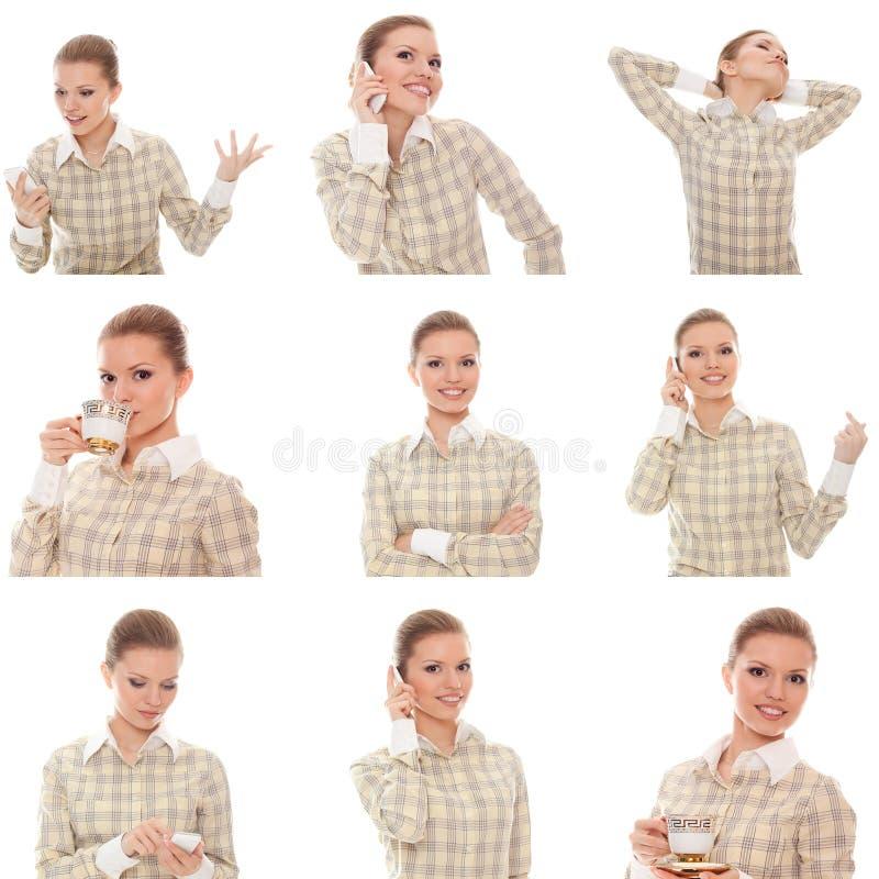 Collage av chefen för bildkvinnakontor med telefonen royaltyfri bild