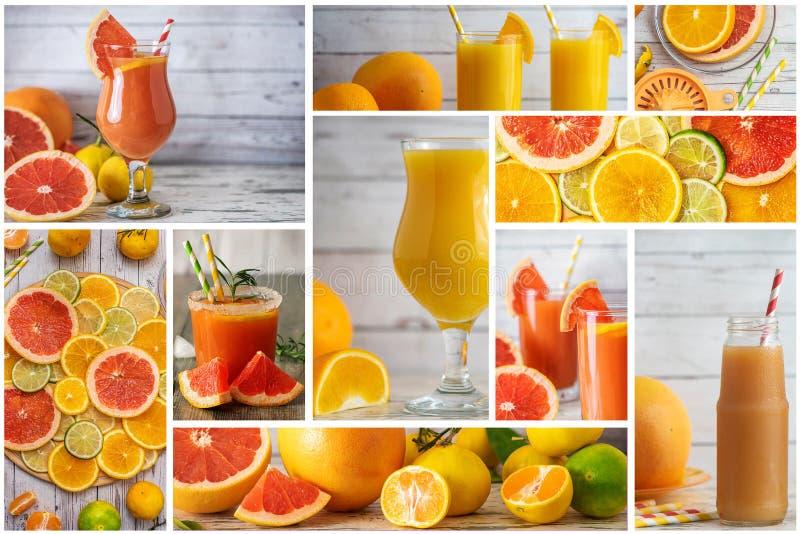 Collage av citrusfruktdrinkar Apelsin-, mandarin-, limefrukt- och grapefruktfruktsaftblandning fotografering för bildbyråer