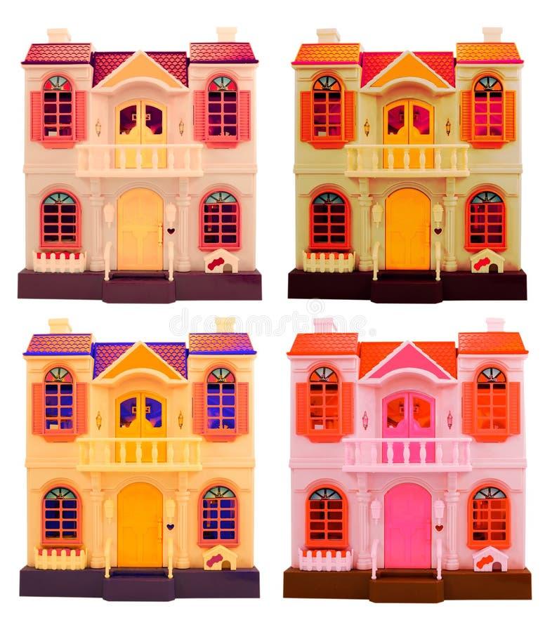 Collage av dallhus som isoleras på vit. royaltyfria bilder