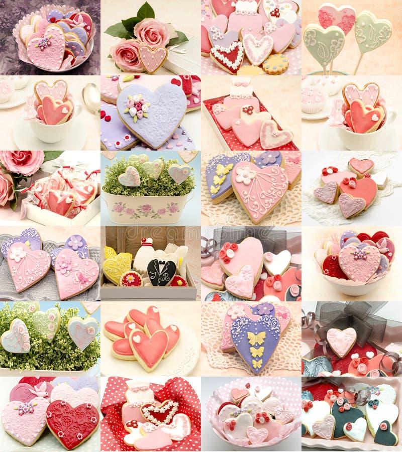 Collage av dekorerade kakor royaltyfria bilder