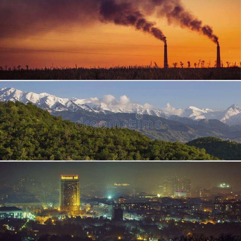 Collage av den Almaty staden och natur, miljö, berg och Ka royaltyfri foto