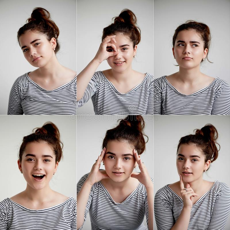 Collage av den emotionella flickan på vit bakgrund, komposit av positiva och negativa sinnesrörelser med flickan royaltyfri bild