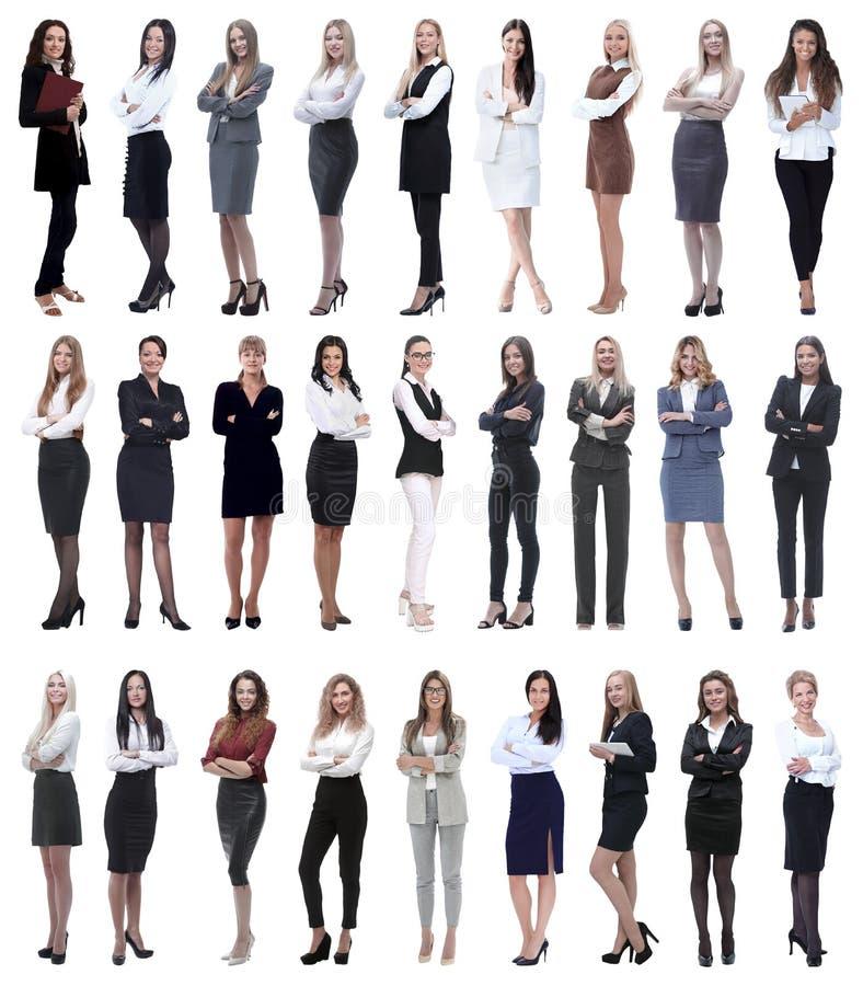 Collage av den lyckade moderna aff?rskvinnan Isolerat p? vit arkivfoto