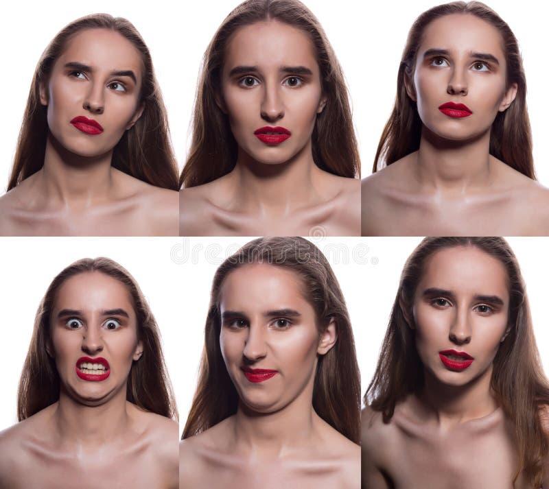 Collage av den nätta brunettkvinnan med olik ansikts- expressio arkivfoto