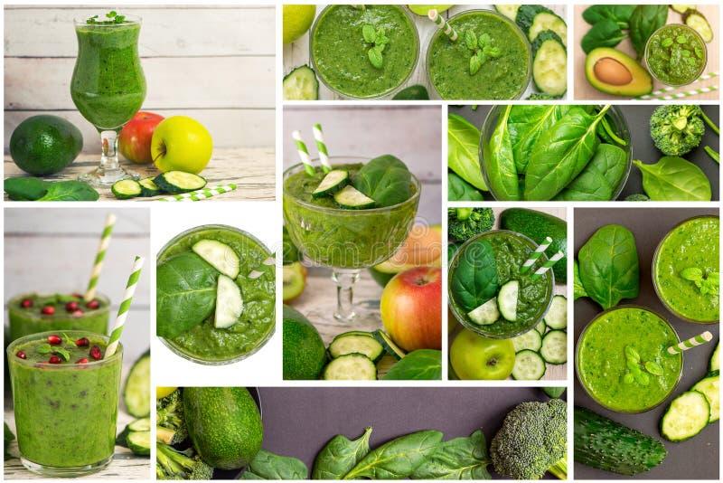 Collage av den nya organiska gröna smoothien med ingredienser royaltyfri foto