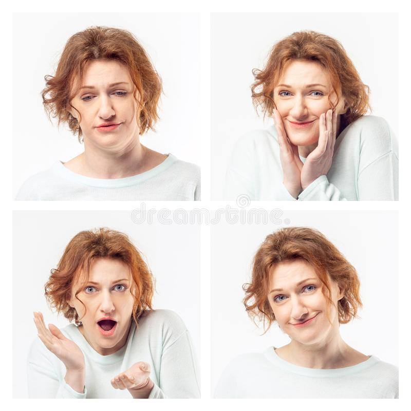 Collage av den samma vuxna kvinnan som gör olika uttryck härlig för studiokvinna för par dans skjutit barn royaltyfri fotografi