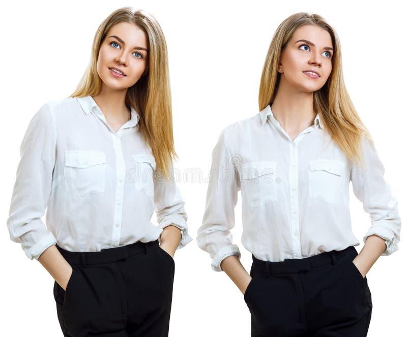 Collage av den unga affärskvinnan med blont hår royaltyfria foton