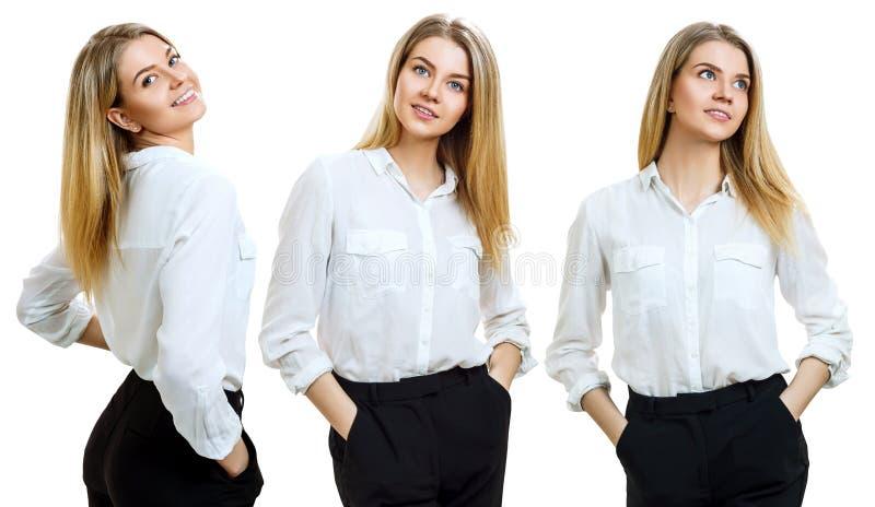 Collage av den unga affärskvinnan med blont hår arkivfoton