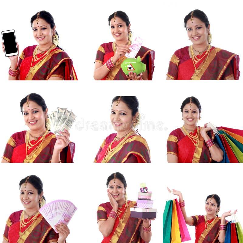 Collage av den unga gladlynta indiska kvinnan med olika uttryck över vit royaltyfria foton