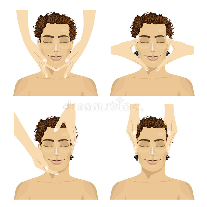 Collage av den unga mannen i brunnsortsalongen som får ansikts- massage stock illustrationer