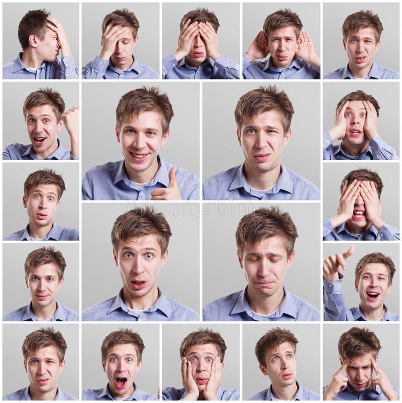 Collage av den unga mannen som uttrycker olika sinnesrörelser arkivbilder
