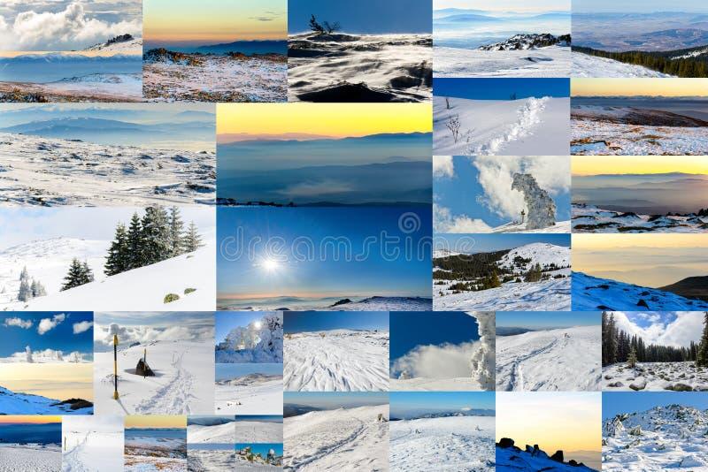 Collage av den vinterfoto, dagen och solnedgången royaltyfri bild