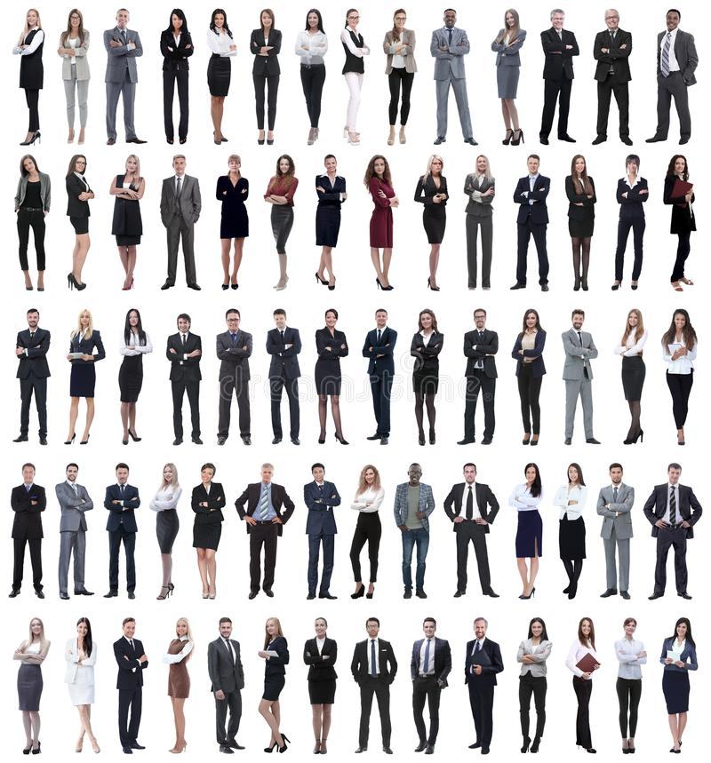 Collage av det unga anseendet för affärsfolk i rad royaltyfri foto