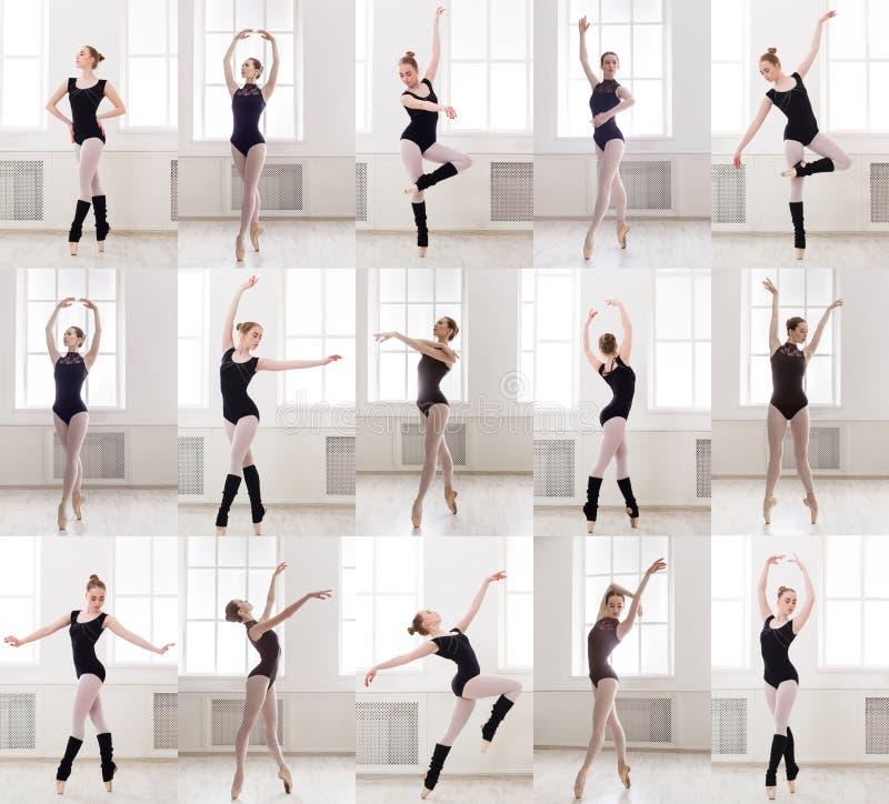 Collage av det unga ballerinaanseendet i balett poserar royaltyfri foto
