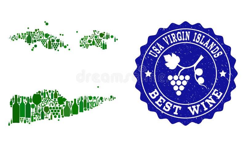 Collage av druvavinöversikten av amerikanen Jungfruöarna och den bästa vinGrungevattenstämpeln royaltyfri illustrationer