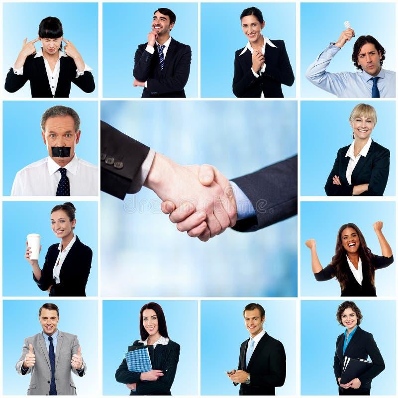 Collage av eleganta affärsmän och kvinnor royaltyfri bild