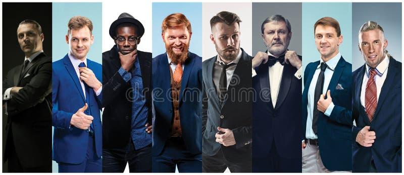 Collage av eleganta män i dräkter royaltyfria foton