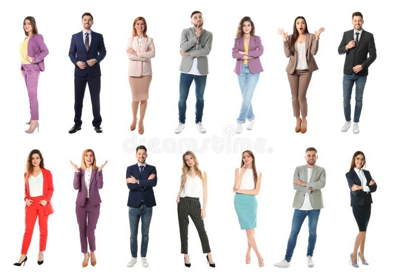 Collage av emotionellt folk på vit fotografering för bildbyråer