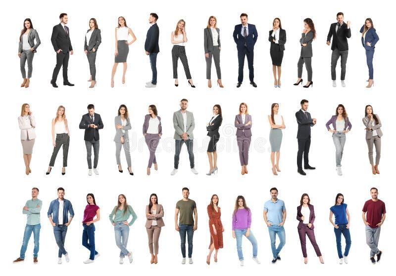 Collage av emotionellt folk på vit royaltyfri bild