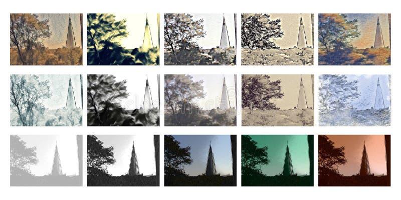 Collage av en stadsområde - kyrka vektor illustrationer