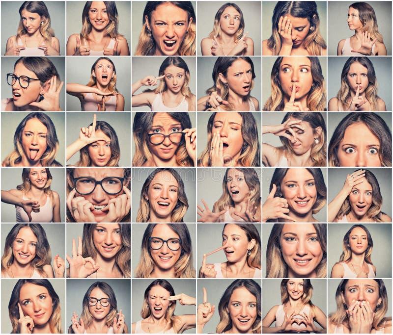 Collage av en ung kvinna som uttrycker olika sinnesrörelser royaltyfria foton