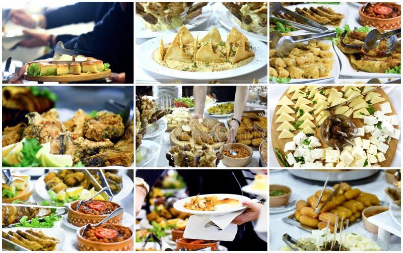 collage av ett olikt parti som sköter om mat fotografering för bildbyråer