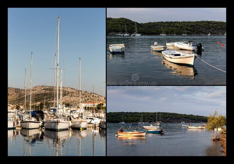 Collage av fartyg och yachter arkivbild