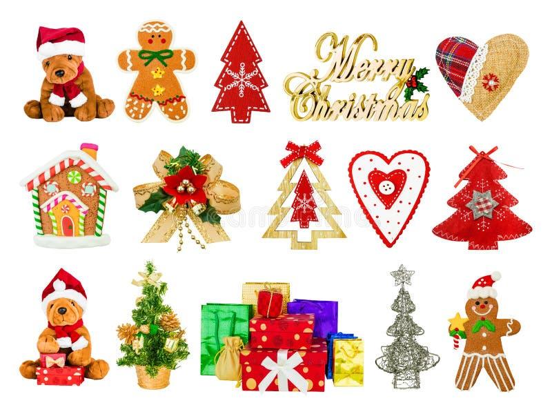 Collage av festliga julsymboler arkivbilder