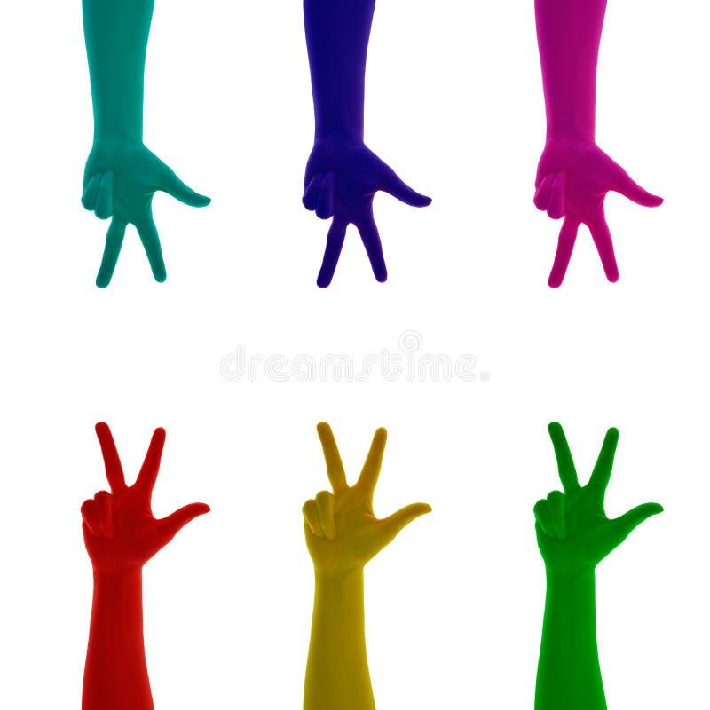 Collage av fingrar för handtecken som tre färgas på rött, gult, grönt, blått, cyan, rosa, magentafärgat stock illustrationer