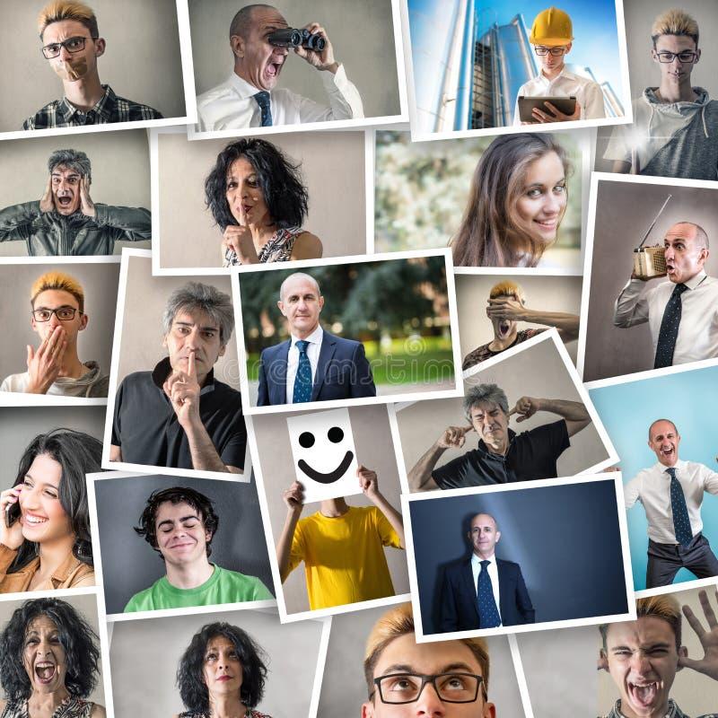 Collage av folk i olika uttryck royaltyfri fotografi