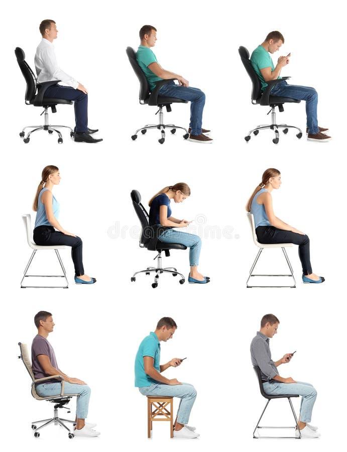 Collage av folk som sitter på stolar mot vit Ställingsbegrepp royaltyfri foto
