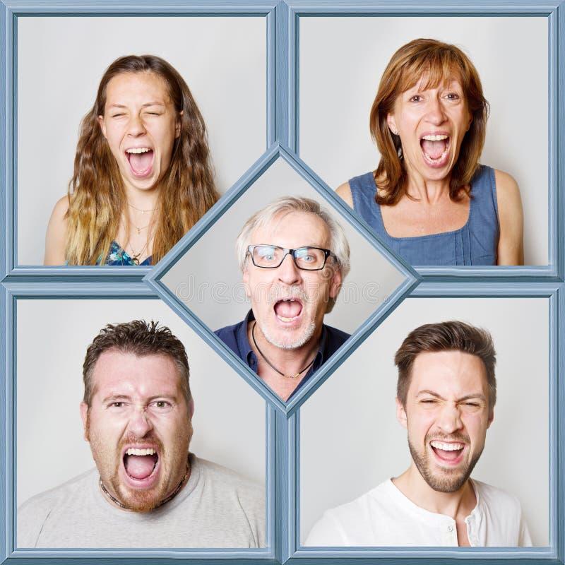 Collage av folk under att skrika royaltyfri foto