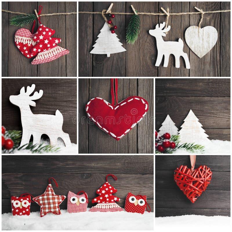 Collage av foto med jultappningleksaker royaltyfri foto