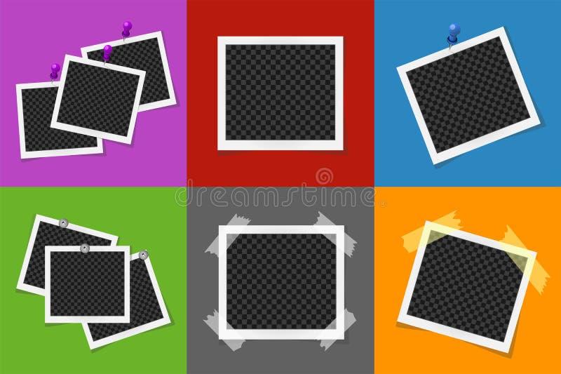 Collage av fotoramar i kulöra fyrkanter stock illustrationer