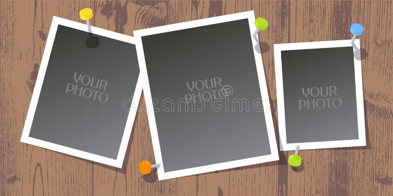 Collage av fotoramar, urklippsbokvektorillustration, bakgrund vektor illustrationer