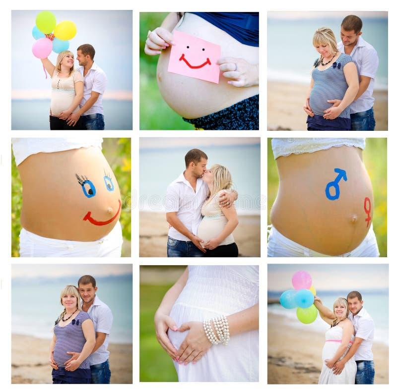 Collage av gravid arkivbilder