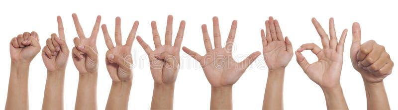 Collage av händer som visar olika gester, uppsättning för tecken för nummerhandfinger arkivfoto
