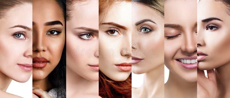 Collage av härliga ddifferent kvinnor med perfekt hud royaltyfri bild