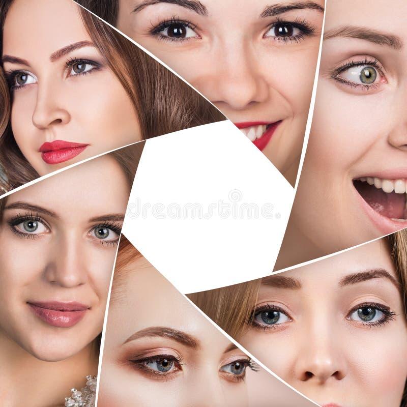 Collage av härliga framsidor för en kvinna royaltyfria bilder
