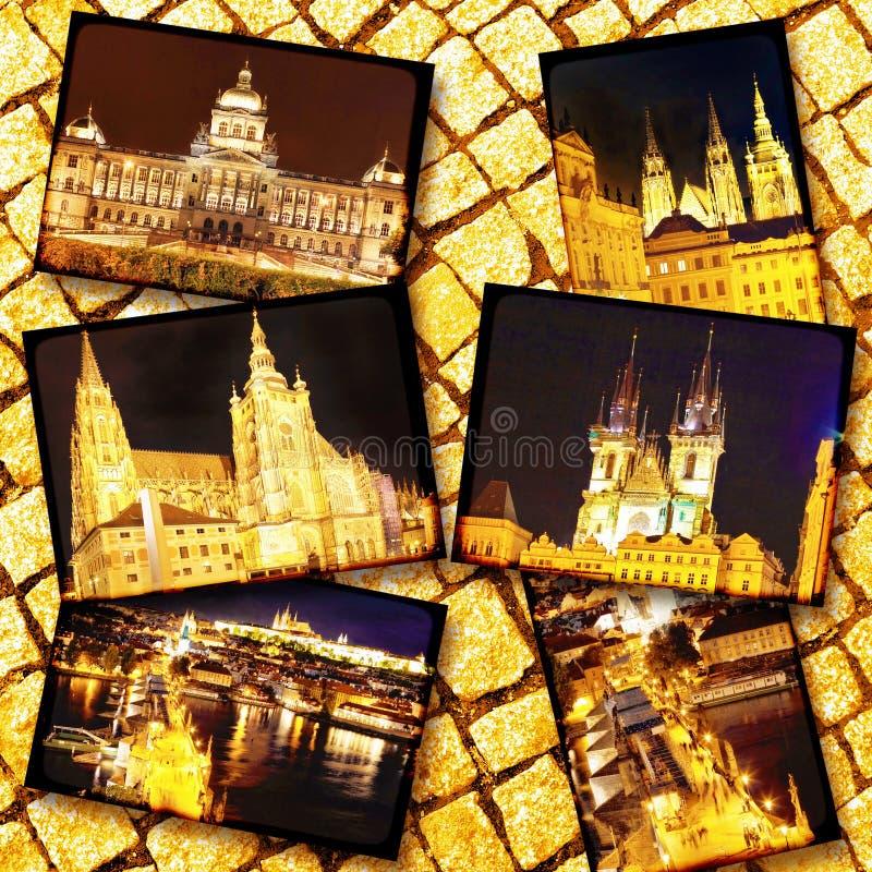 Collage av härliga Prague royaltyfri bild