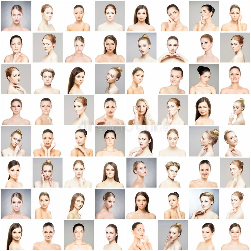 Collage av härliga, sunda och unga brunnsortkvinnligstående Framsidor av olika kvinnor Lyfta för framsida, skincare, plast- arkivbild