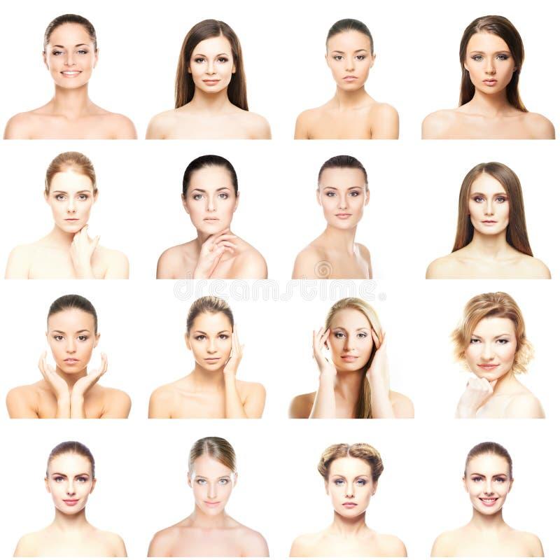 Collage av härliga, sunda och unga brunnsortstående Framsidor av olika kvinnor Lyfta för framsida, skincare, plastikkirurgi arkivfoton