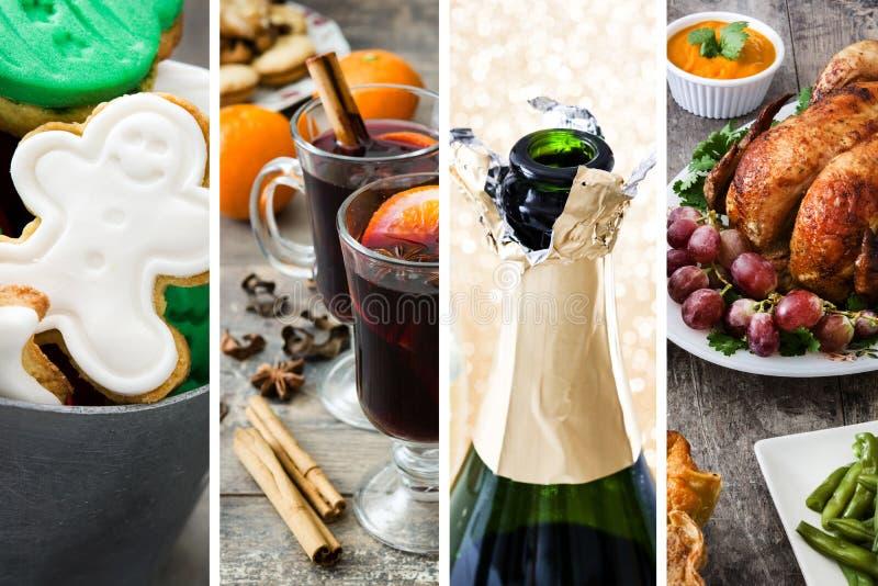 Collage av julmat Ljust rödbrun kakor, funderat vin, champagneflaska och stekkalkon royaltyfri bild