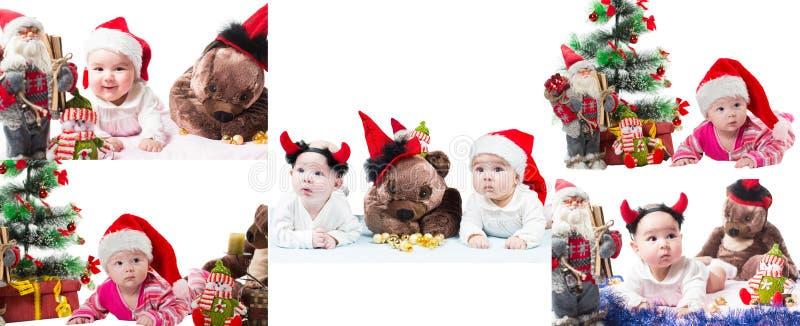Collage av jultomten behandla som ett barn flickan och leksaken i jul på isolerad vit bakgrund. royaltyfri bild