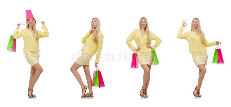 Collage av kvinnan med shoppingpåsar royaltyfri fotografi